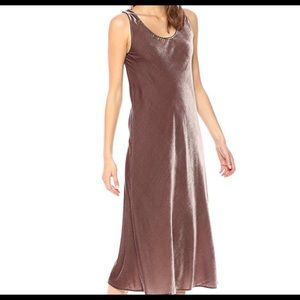 Velvet maxi length tank dress in cocoa bean color